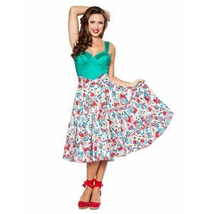 BETTIE PAGE Tropical Guitar Print Cha Cha Skirt 8
